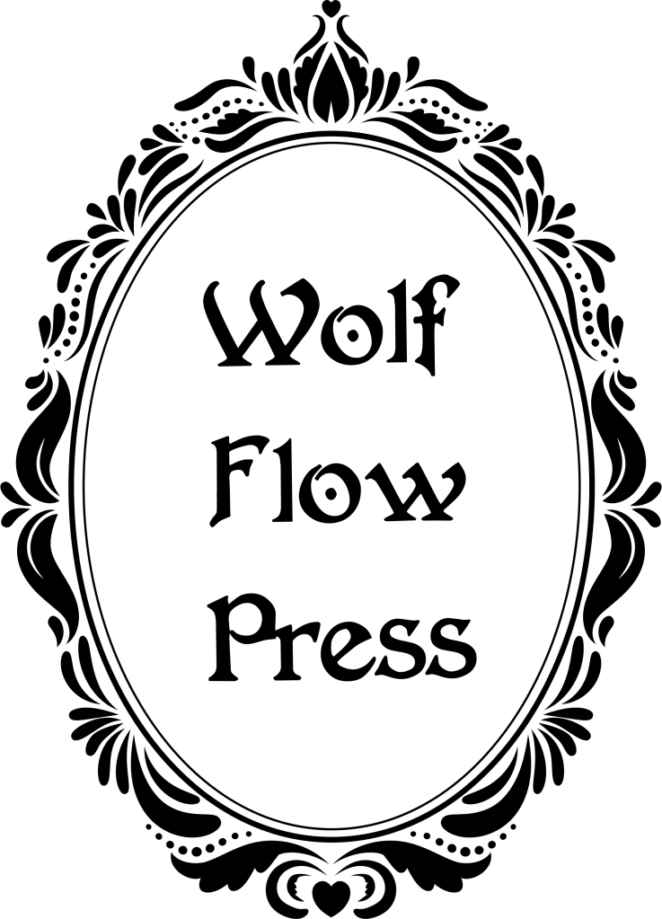 Logo: An ornate gothic mirror with Wolf Flow Press in the reflection.