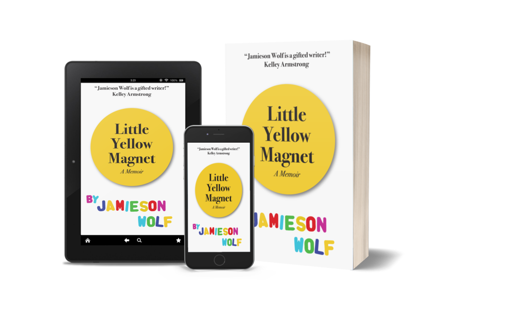 A tablet, cell phone, and paperback display the cover of Little Yellow Magnet.