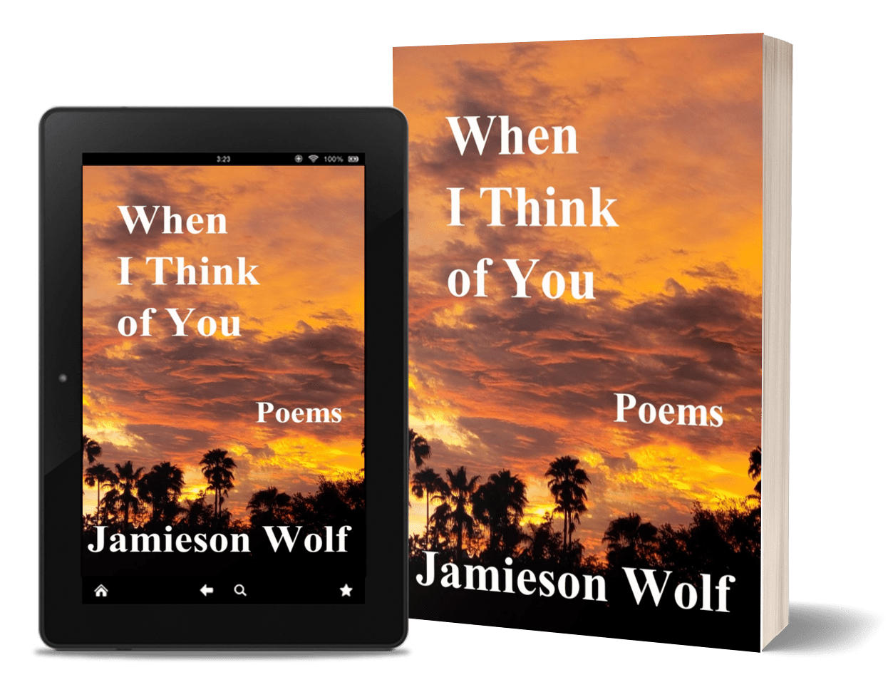 Image description: Tablet featuring ebook and a paperback copy of When I Think of You